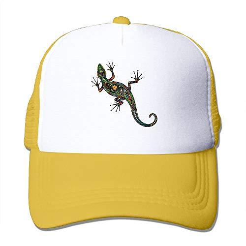 VTXINS Gecko Colorful Abstract Floral Pattern Women's Mesh Unisex Snapback Baseball Trucker Hats -