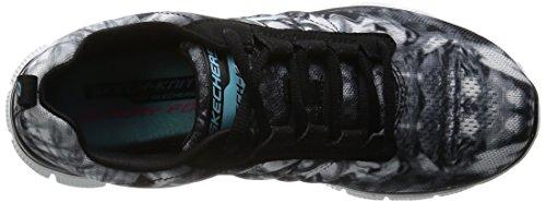 Skechers Flex AppealCosmic Rays, Baskets Basses Femme Noir - Noir/blanc