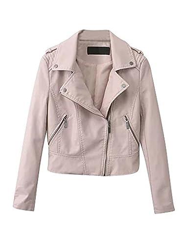 Mesdames Femme Cuir Biker Moto Bomber Zipper Faux Cuir Manteau Biker Veste Pink L