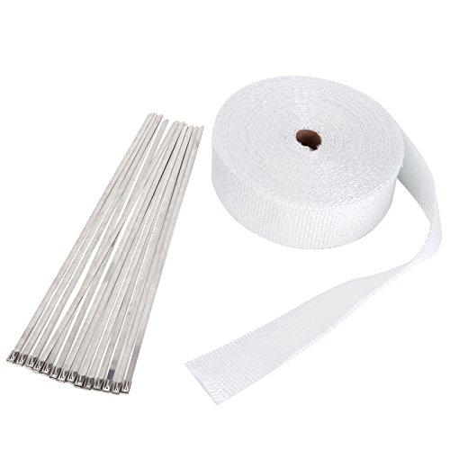 Hitzeschutzband Hitzeschutz Heat Wrap Krümmer Hitzeschutzband Hitzeschutz Auspuffband 15mx50mm mit 10X Metallstreifen OUTLET