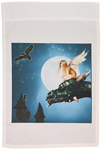 3dRose FL_25967_1 Feen-Drache Fantasie mit Mond und Eulen, Gartenflagge, 30,5 x 45,7 cm