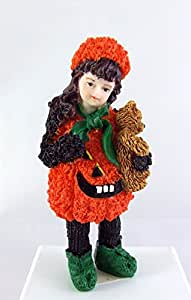 Maison De Poupées Miniature 1:12 Echelle Résine Personnages Petite Fille Pumkin Costume avec Ours en peluche