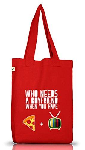 Valentinstag Jutebeutel Stoffbeutel Earth Positive mit Who Needs A Boyfriend Motiv von ShirtStreet Red
