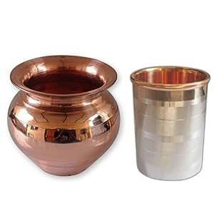 Tumbler cuivre pur, extérieur en acier inoxydable avec la main cuivre Lota Kalash