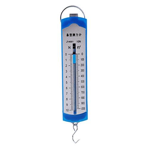 Descripción:       - Metro del indicador de la fuerza del metro de Newton 10N, experimento plástico del laboratorio de la física del balance de resorte del dinamómetro 10N    - Alcance máximo: 10N    - Escala mínima: 0.2N    - Material: plást...