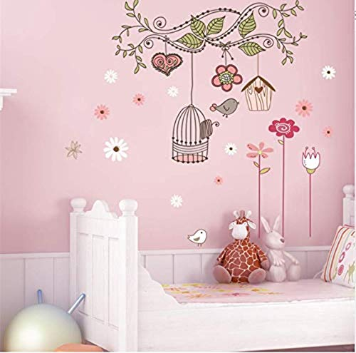 Flower Bird cage PVC Wall Stickers Peel and Stick Wall Decals DIY Room Decorations Home House Sticker Wallpaper
