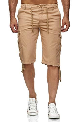 Reslad Leinen Cargo Shorts Männer Strandhose Herren Leinenhose 3/4 Hose Freizeit Kurze Hosen Sommer Bermudas RS-3001 Camel L