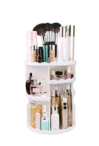 MOFIR Makeup Organizer 360 Grad drehbar, einstellbare Multi-Funktion Kosmetik Aufbewahrungsbox, kleine Größe Extra große Kapazität, passt verschiedene Größen von Kosmetika (Weiß, Spitze)