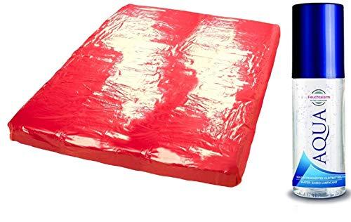 Lacklaken Laken Bettlaken Sexlaken Laken Bettwäsche Gummilaken Massagelaken wasserdicht aus Lack Massageliege Bezug 200x230 cm rot für ausgiebige feuchte Sex Erotik Spiele im Bett