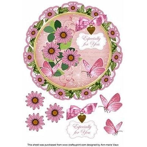Pink Daisy ideali per il Decoupage, 20 cm, motivo: centrino, Topper by Ann Vaux marie