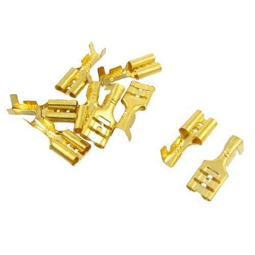 10 PCS Gold Ton Spaten Crimp Terminals 6,3 mm Verdrahtung Stecker -