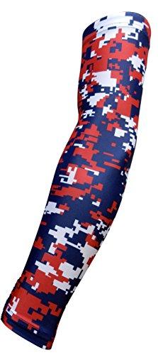 NEU. Navy Blau Rot Weiß Digital Camo Arm Sleeve-Feuchtigkeitstransport Kompression, Navy Red White Camo