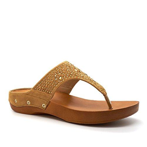 London Footwear - Retro aperto donna Camel