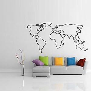 SecondStep Decorar Pole Mapa Mapa Sala De Papel En La Pared De Fondo Mundial De Chien Para Decorar 110*55 Cm, Mapa Muro Creativo Moda Pegatinas Vinilos Adhesivos De Protección Ambiental Decoración Mural Plano Material Decorativo Papel Tapiz