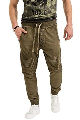 trueprodigy Casual Herren Marken Jogginghose einfarbig Basic, Sweathose cool und stylisch Vintage (Sportlich & Slim Fit), Chino Sweatpant für Männer in Farbe: Khaki 6473107-0629-S
