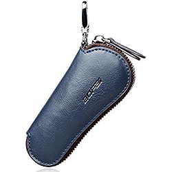 BOPAI Estuches de Llaves Coche del Cuero Genuino Caso de Llavero Cubierta de Anillo Clave (azul)
