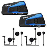 LEXIN B4FM 1200 Meter Drahtlose Bluetooth-Sprechanlage Motorrad-Sturzhelm Bluetooth Intercom Wasserdicht Winddicht Headset im Freien Radfahren (Rauschunterdrückung)