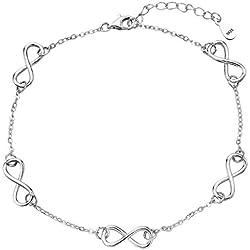EVER FAITH® - Mignonne - Bracelet de Cheville Réglable Argent 925 Elégance Infini 8 N08205-1
