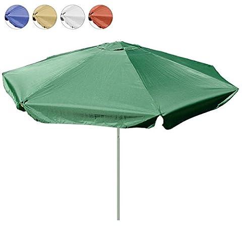 Sonnenschirm 4m mit Kurbel Alu Gestell Sonnenschutz Gartenschirm (Grün), Polyester 160 g/m² Gewicht