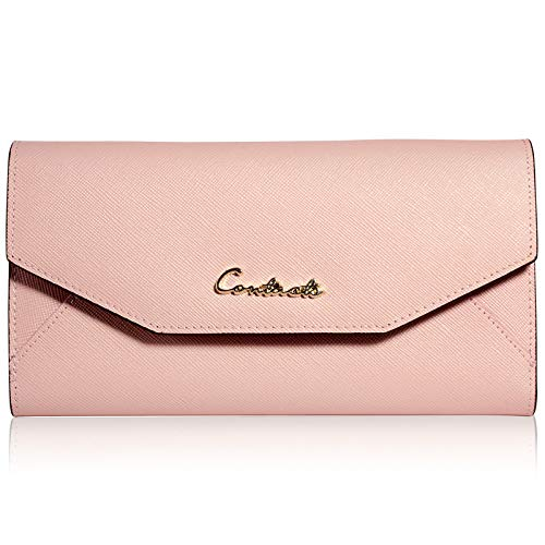 Cross-grain-leder (WFF Damenbrieftasche aus europäischem und amerikanischem Cross-Grain-Leder, Lederhülle, multifunktionale Damenbrieftasche,Rosa,cm)