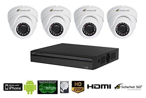 Full HD Videoüberwachung Set mit 4 Dome Überwachungskameras, 2 TB Festplatte, DVR Rekorder, 4X 20m Kabel, Nachsicht in HD Qualität. HDCVI App Zugriff mit P2P. (Receiver Hd-net)