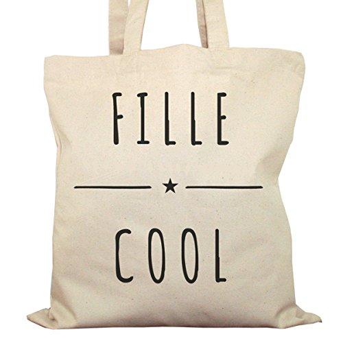 Tote Bag Imprimé Ecru - Toile en coton bio - Fille Cool