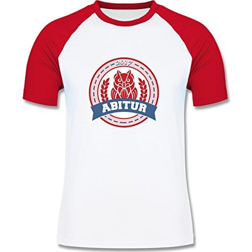 Abi & Abschluss - ABITUR 2017 Badge mit Eule - zweifarbiges Baseballshirt für Männer Weiß/Rot