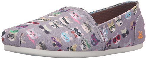 Bobs De Skechers Bobs pour chiens en peluche Slip-on Flat Gray Kitty