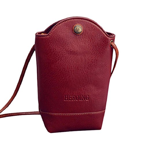 Rovinci Damen Kurier-Beutel Schlank Umhängetaschen Handtasche aus PU-Leder Kleine Körper Taschen (rot) (Bag Clutch Leder)