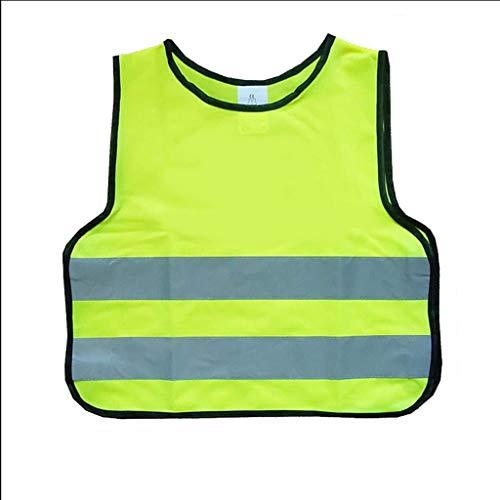 Kleine Sicherheit reflektierende Weste Kind Schutzkleidung Grundschule Verkehr Nacht Sicherheitsweste fluoreszierend (Color : Fluorescent yellow, Größe : S)