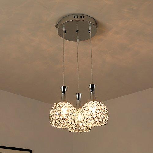 ... Glighone 3 Flammig LED Pendelleuchte Hängeleuchte Modern Kristall  Hängende Deckenleuchte Kronleuchter Esstischlampe Für Esstisch Küche Flur  ...