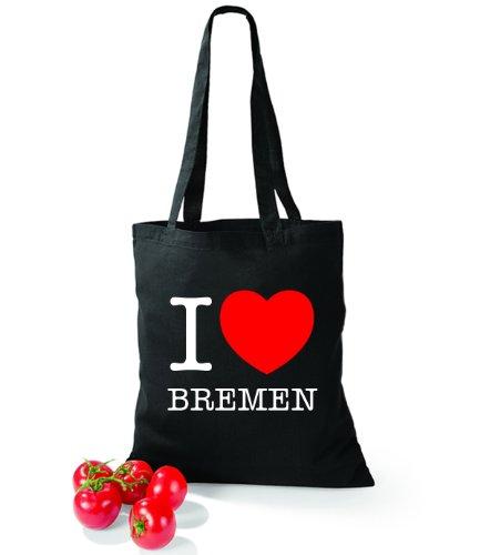 Artdiktat Baumwolltasche I love Bremen Schwarz