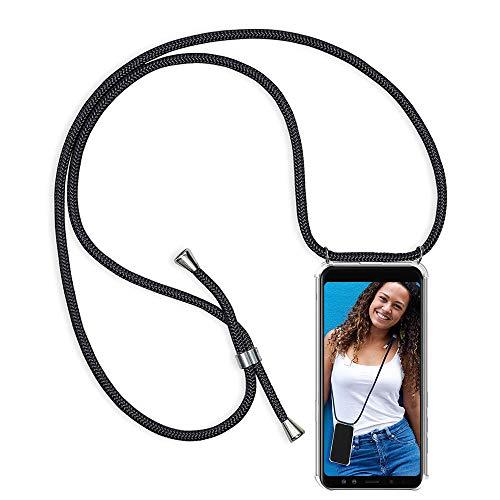 Coqin Handykette Kompatibel mit Huawei Y6 2018 Hülle, Smartphone Necklace Schutzhülle, mit Band Stylische Transparent Stoßfest Kratzfest Silikon Handyhülle - Schnur mit Case zum Umhängen in Schwarz