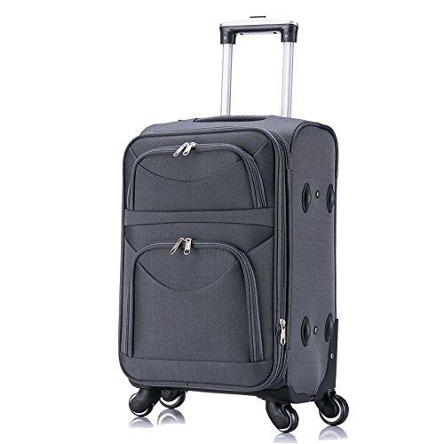 WOLTU RK4214gr-M-a Reise Koffer Trolley mit 4 Rollen , Weichgepäck Reisegepäck , Reisekoffer Stoff 1200D Oxford Weichschale , Handgepäck leicht & günstig , Grau (M, 56 cm & 42 Liter) - 2