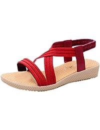Damen Sandalen,❤️Binggong Damen Flache Schuhe Verband Böhmen Freizeit Dame  Sandalen Peep-Toe Outdoor… 9909d3628e
