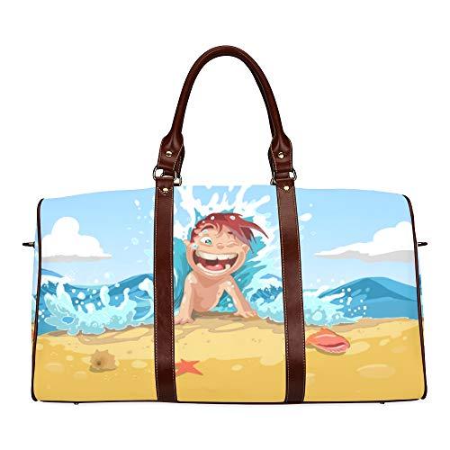 Reise-Seesack Angenehm bequem und lässig Strand wasserdicht Weekender Bag Übernacht Carryon Handtasche Frauen Damen Einkaufstasche mit Mikrofaser Leder Gepäcktasche
