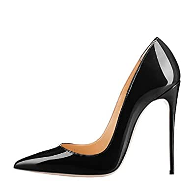 SexyPrey Women's Big Size Patent Stiletto High Heels Pointed Toe Pumps Shoe for Party Dress Black Patent Uk2.5