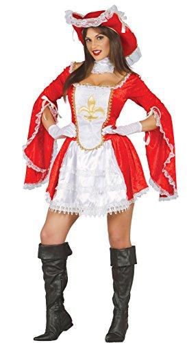 Guirca Finsteres Kostüm Musketier Damen für Erwachsene, Rot, M, 80888