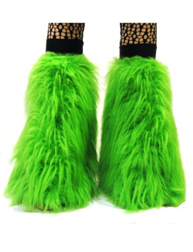 NEON UV flauschiges Fell Beinstulpen Stiefel Bezüge Gr. Einheitsgröße, grün (Herren Grün Kostüm Stiefel)