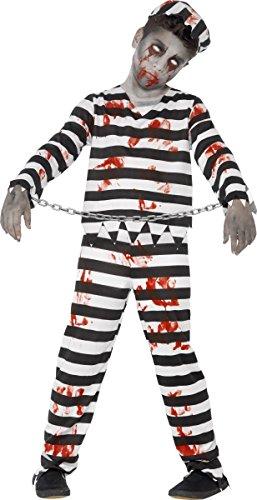Gefangener Halloween (Zombie Gefangener Sträfling Halloween Kinderkostüm schwarz-weiss-rot 158/170 (13-15)