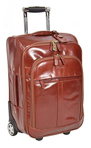 Echtes Leder Koffer Hütte Reisegepäck Trolley Wochenende Tasche Kognak A0518