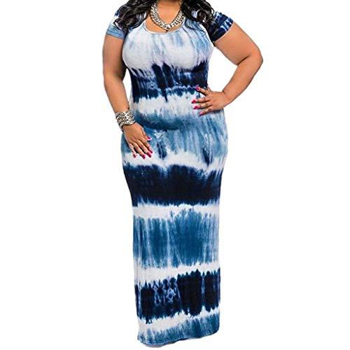 rkleid Plus Size Boho Kleid Chevron Striped Hoch Taillierte Sommer Casual Maxi-Kleid Damen ÜBergrößE Kleider BöHmen Kurzes Kleid Partykleid Strandkleid Cocktailkleid ()