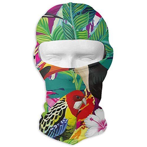 Gxdchfj Tropical Bird Toucan Parrot Hoopoe Winter Tactical Full Face Mask Dust Protection Neck Cover Hood for Men and Women (Parrot Gear Head)