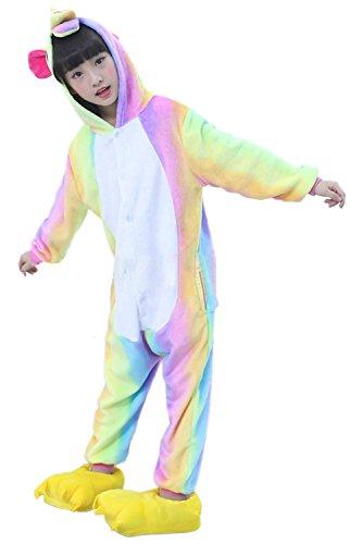 Prettycos Infantil Unicornio Pijama Ropa de Dormir Unisex Disfraz Unicornio Cosplay Animales Pijamas para Ninos, Amarillo, Talla M(Height 120-130cm)