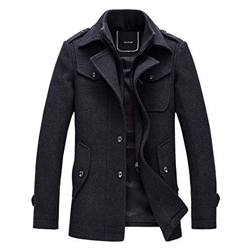 YOUTHUP Herren Wintermantel mit Stehkragen und Hochwertige Materialqualität Lange Jacke L Grau
