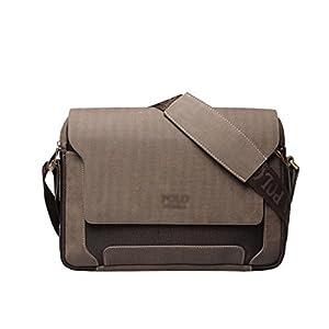 Maod Hombre Bolso de Cuero Retro Bandolera Oficina Ocio Maletin Clásico Color Sólido Briefcase de Piel Bolsos Pequeño (Marrón L)