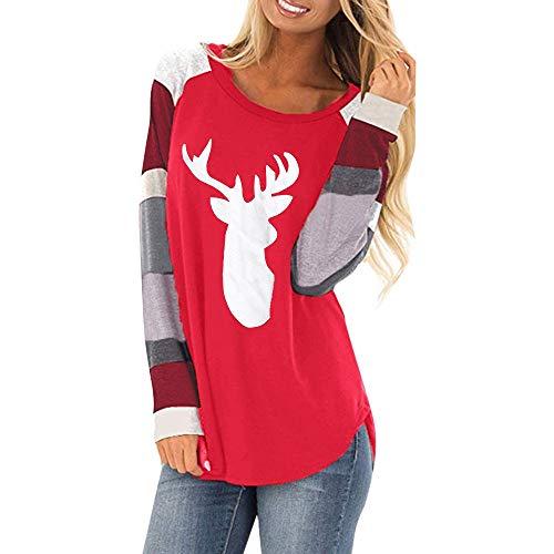 MRULIC Weihnachten Damen Langarm T-Shirt Elch Druck Rundhals Sweatshirt Basic Tops Bluse Shirt Pullover Festliches Kostüm 01(H-Rot,EU-42/CN-XL)