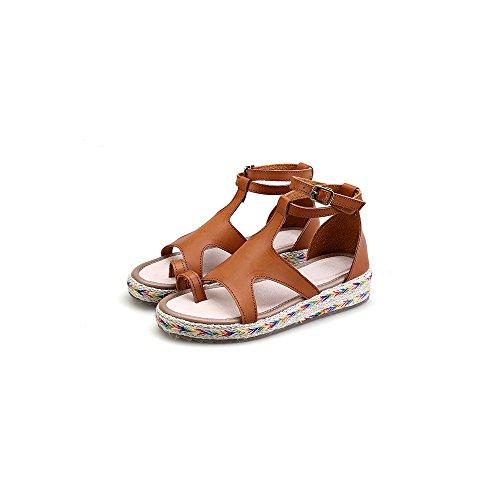 Scarpe da Moda sandali Espadrillas aperto di piattaforma caviglia donna Marrone