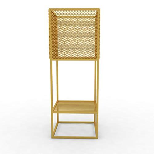 XZGang Schmiedeeisen-Quadrat-Blumen-Stand, Speicher-Regal-Goldweiß-Schwarz-Multifunktionsblumen-Topf-Eisen-Netz-Doppelt-Schicht 70 * 25 * 25 cm Blumentopf Regal (Farbe : Gold, größe : 70 * 25 * 25cm) -