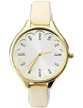 JSDDE Uhren,Genf Elegante Damen-Armbanduhr mit Strass XS Slim Lederarmband Blumen Ladies Dress Analog Quarzuhr...